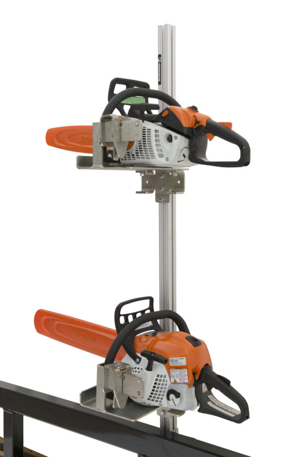 chainsaw bracket and holder for open trailer